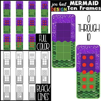 Mermaids Clip Art -Mermaids Math Ten Frames {jen hart Clip Art}