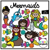 Mermaids (Clip Art for Personal & Commercial Use)