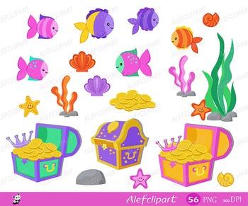 Mermaids,Mermaids Clipart, Summer Clipart ,Princess Clipart,Digital Clipart Set.