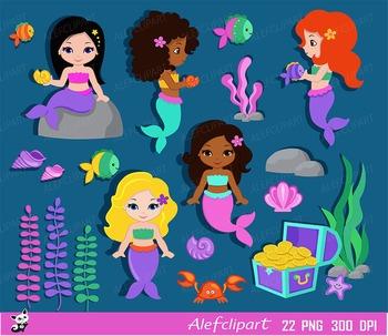 Mermaids,Mermaids Clipart, Summer Clipart ,Princess Clipar