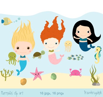 Mermaids clip art, Sea animal clipart, Underwater animals