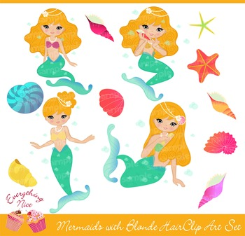 Mermaids with Blonde Hair Clipart Set