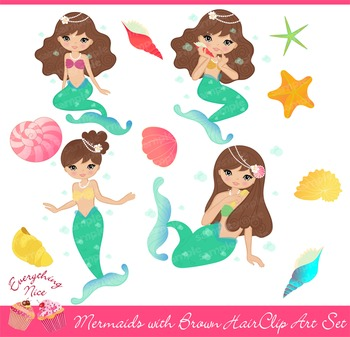 Mermaids with Brown Hair Clipart Set