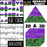 Mermald Clip Art -  Mermaid Math 2D & 3D Shapes {jen hart