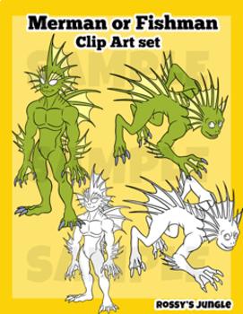 Merman or Merfolk clip art mini set