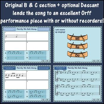 Orff Arrangement ~ Merrily We Roll Along: Orff, Soprano Recorder, Rhythm, Melody