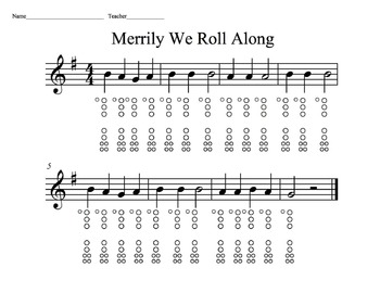Merrily We Roll Along - Recorder Fingering Practice
