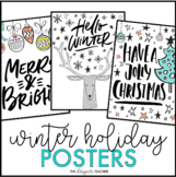 Merry & Bright Holiday Posters | Christmas Posters | Holiday Decor