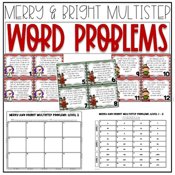 Merry & Bright Multistep Word Problem Task Cards