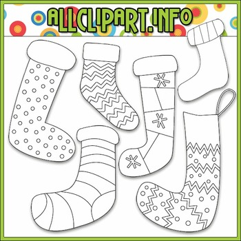 BUNDLED SET - Merry & Bright Stockings Clip Art & Digital Stamp Bundle