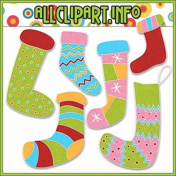 BUNDLED SET - Merry & Bright Stockings Clip Art & Digital