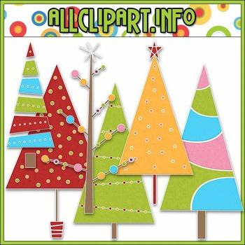 BUNDLED SET - Merry & Bright Trees Clip Art & Digital Stamp Bundle