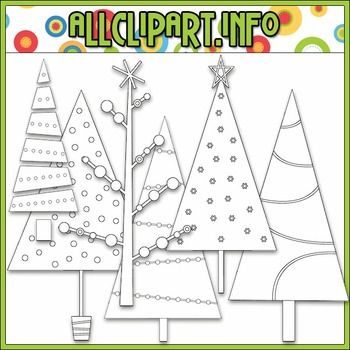 BUNDLED SET - Merry & Bright Trees Clip Art & Digital Stamp Bundle