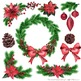 Merry & Bright Watercolor Christmas Wreath Clipart - Holly, Poinsettia, Pine