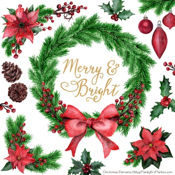 Merry & Bright Watercolor Christmas Wreath Clipart - Holly