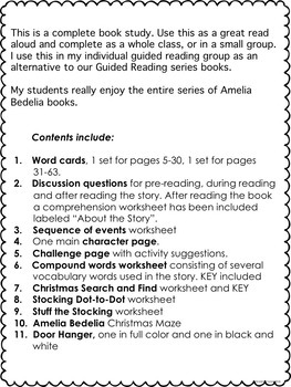 Amelia Bedelia Merry Christmas Novel Book Study No Prep Guided Reading Unit