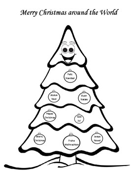 Merry Christmas Around the World Coloring Sheet