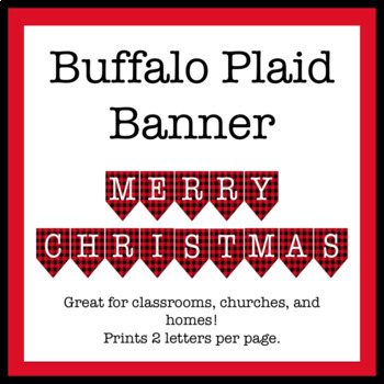 Merry Christmas Banner - Buffalo Plaid