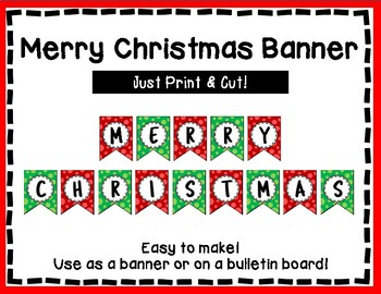 Merry Christmas Banner - Red & Green Style - Christmas Bulletin Board