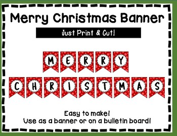 Merry Christmas Banner - Red Style - Christmas Bulletin Board