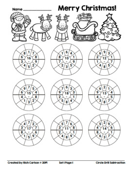 Merry Christmas Circle Drill Subtraction! Christmas Math FUN! (Black Line)