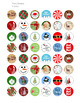 """Merry Christmas Circle Images - Printable 1"""" Circle Stickers"""