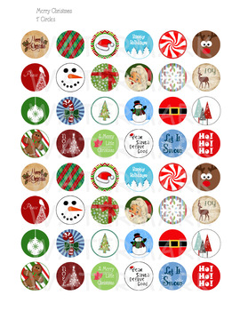 "Merry Christmas Circle Images - Printable 1"" Circle Stickers"