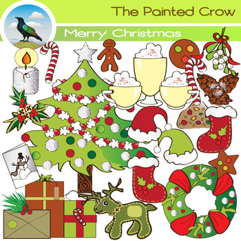 Merry Christmas Clip Art - 40 Piece Holiday Set with Color & Blackline graphics