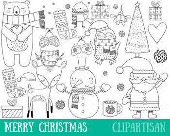 Merry Christmas Clip Art and Coloring Activity