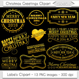 Merry Christmas Clipart Gold Christmas Greetings Labels Clipart Overlays