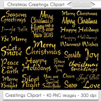 Merry Christmas Clipart Gold Christmas Greetings Titles Clipart Overlays