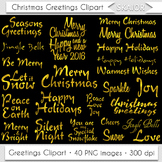 Merry Christmas Clipart Gold Christmas Greetings Titles Cl