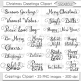 Merry Christmas Clipart New Year Overlays Holiday Invitations Greetings Clip Art