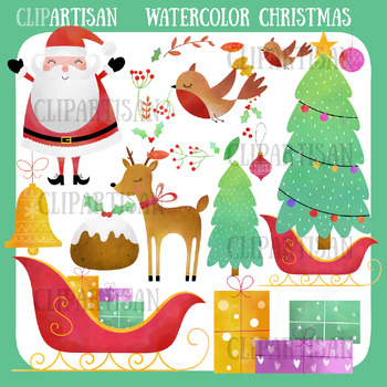 photo about Merry Christmas Printable identify Merry Xmas Clip Artwork Watercolor Xmas Printable Santa Sleigh