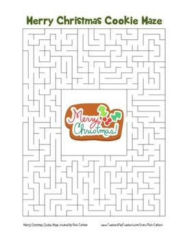 """Merry Christmas Cookie"" Maze! Holiday FUN! (Color and Black Line)"