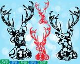 Merry Christmas Deer Woodland school Clipart zoo circus flower reindeer 369s