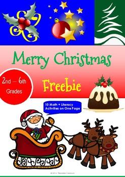 Merry Christmas Freebie - Math & Literacy Activity Sheet