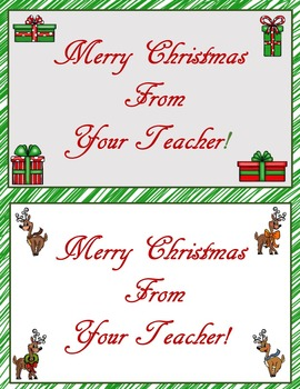 Merry Christmas From Your Teacher cards