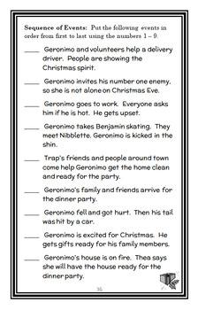 Merry Christmas, Geronimo! (Geronimo Stilton) Novel Study / Comprehension