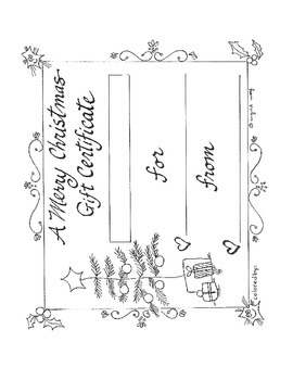 Merry Christmas Gift Certificate Printable