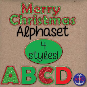 Merry Christmas Glitter, Red & Green Digital Alphabet Clip Art Mega Pack