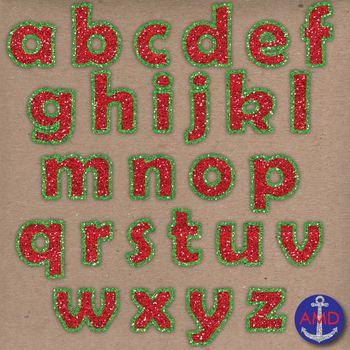 Merry Christmas Glitter, Red & Green Digital Alphabet Clip