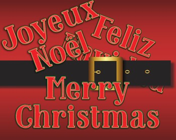 Merry Christmas Greetings in Six Languages -- Room Decorat