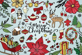 Merry Christmas & Happy Holidays Hand Drawn Clip Art