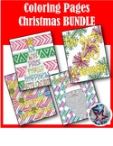Merry Christmas Holiday Adult Coloring Page BUNDLE
