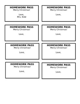 """Merry Christmas"" Holiday Homework Passes - Perfect atop Cupcakes!"