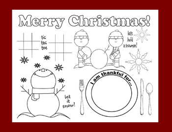 Merry Christmas Holiday Placemat Kids Coloring Page Art Activity