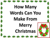 Merry Christmas How Many Words Can You Make?