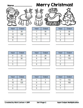 Merry Christmas Input Output Multiplication! Christmas Math FUN! (Black Line)
