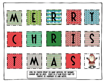 Merry Christmas Making Words